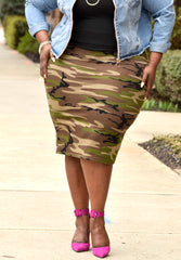 Curvy Camo Pencil Midi Skirt