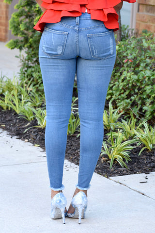 Light Blue Distressed Crop Jeans