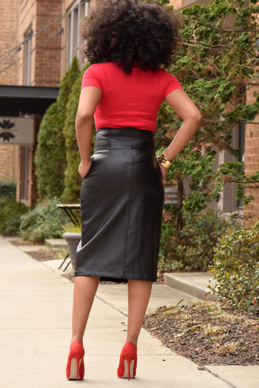 High Waist Faux Leather Skirt