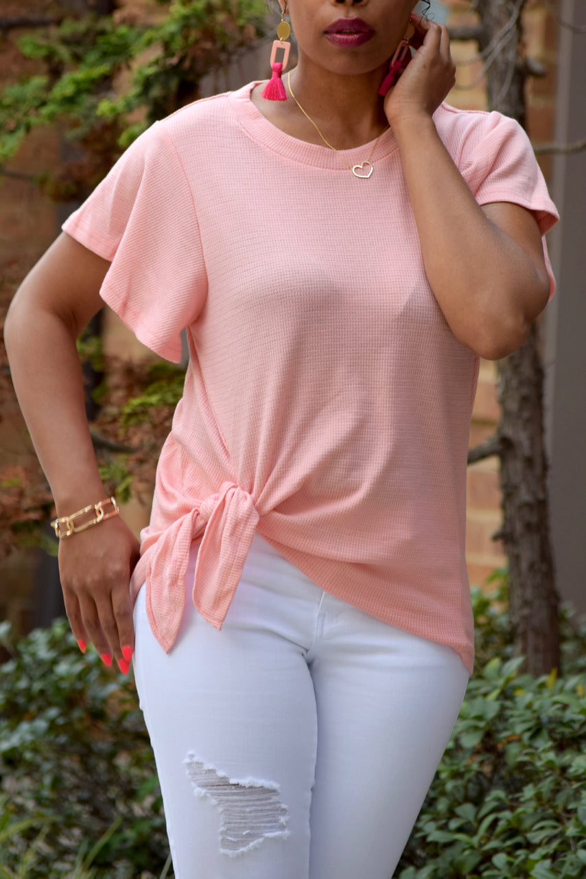 Pink Side Tie Ruffle Sleeve Top
