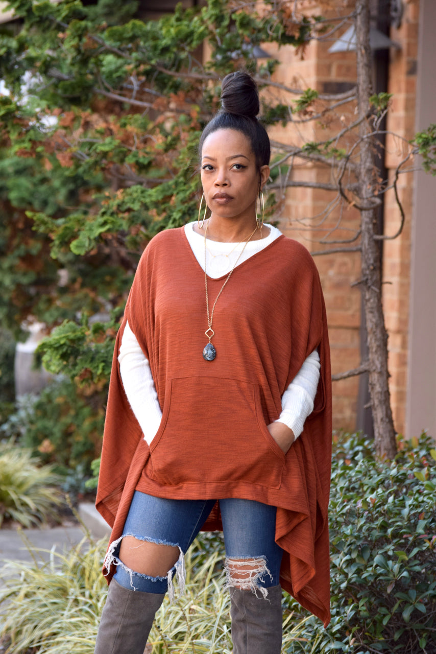 Boxy Poncho Top- Rust