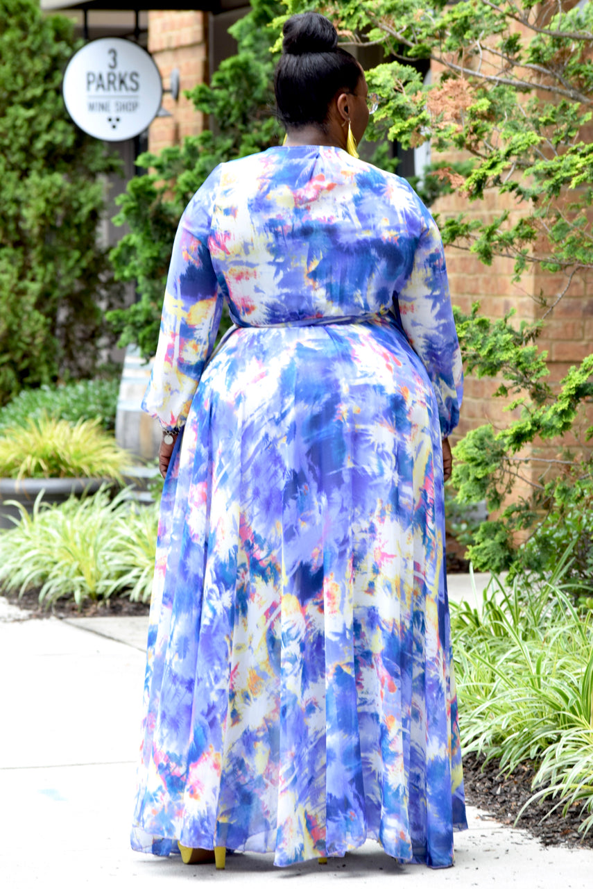Curvy Palm Tree Wrap Maxi Dress