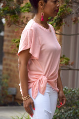 Baby Pink Side Tie Ruffle Sleeve Top