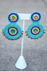 Bead Jewel Double Circle Earrings -2 Colors