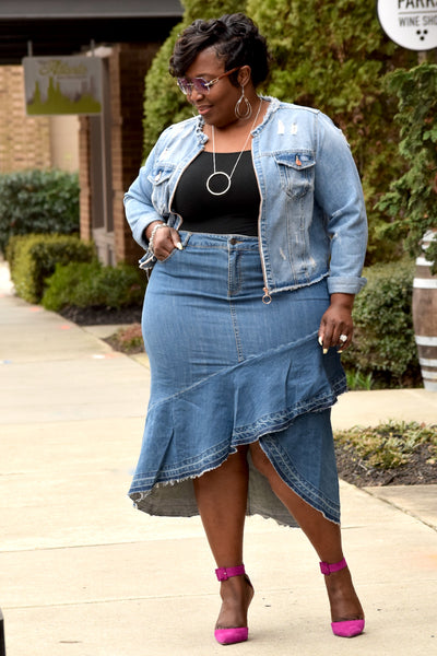 Curvy Hi Low Tiered Denim Skirt