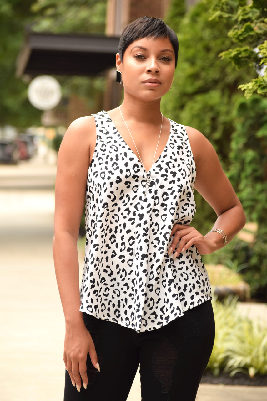 Black and White Leopard V-Neck Top