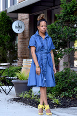 Pleat Ruffle Denim Shirt Dress