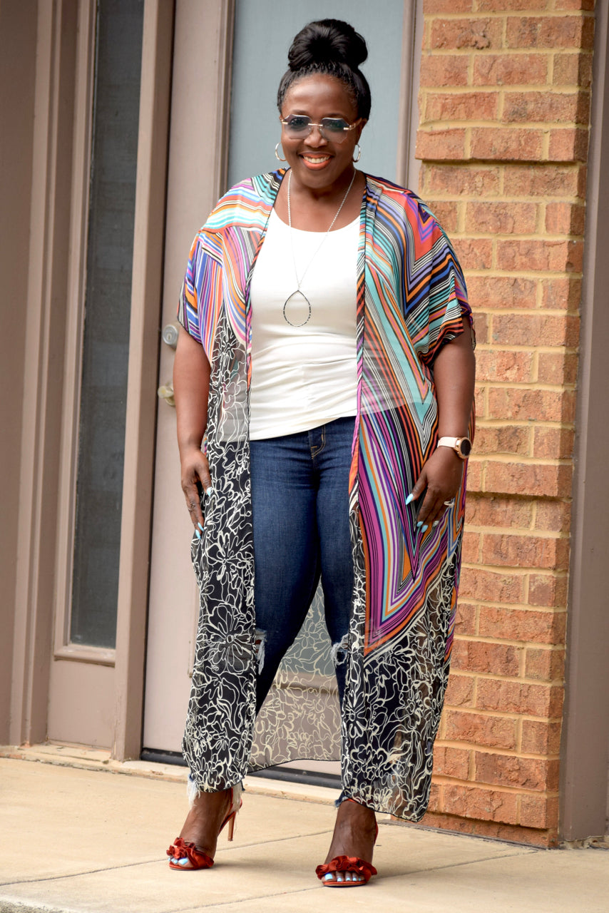 Abstract Chiffon Duster