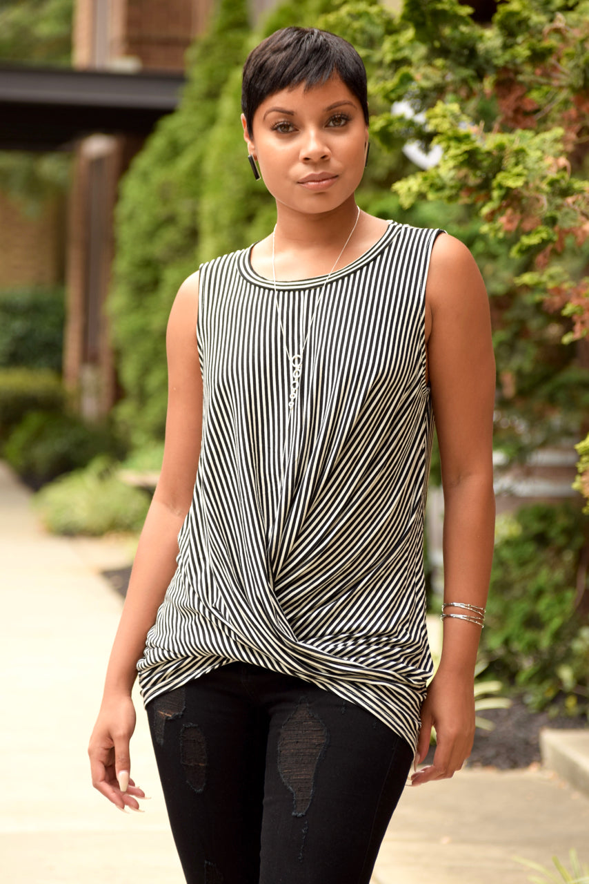 Stripe Twisted Front Knit Top