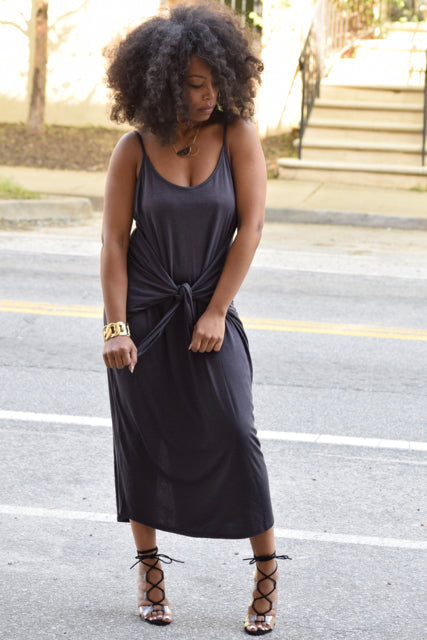 Ribbed Tie Waist Dress