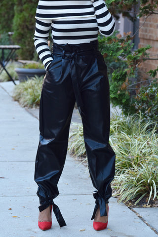 High Waist Ankle Tie Pants