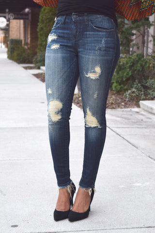Ankle Frayed Distressed Skinny Jeans