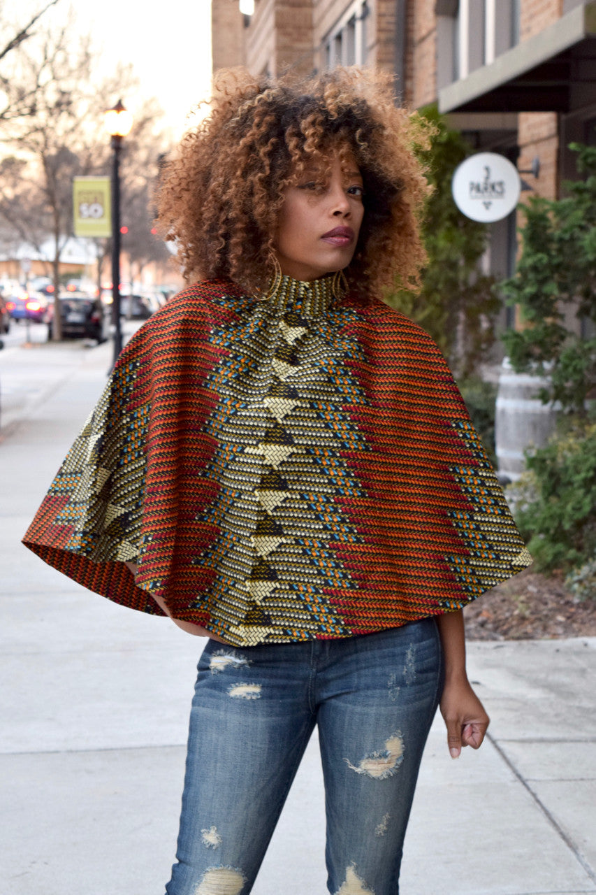 African Print Cape Top