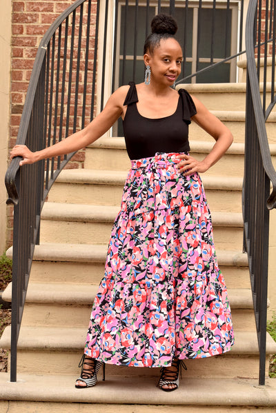 Floral Tiered Flounce Belted Skirt