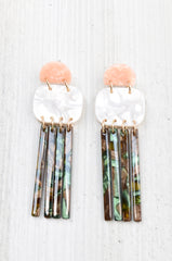 Acrylic Half Moon & Bars Earrings