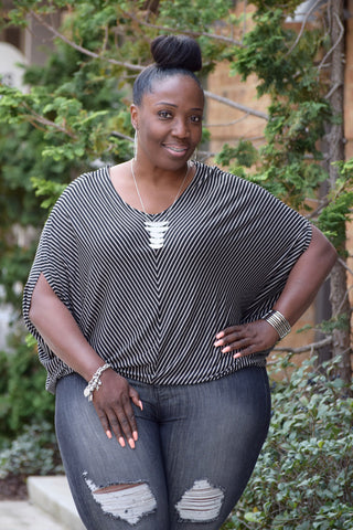 Curvy V Stripe Dolman Top