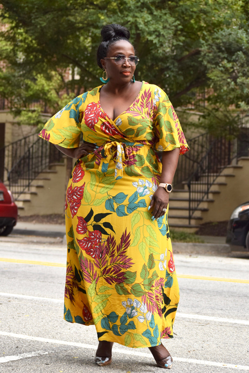 Curvy Tropical Faux Wrap Maxi