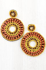 Sequin & Bead Double Circle Earrings