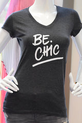 Be Chic V Neck Tee- Charcoal