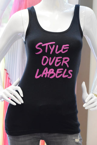 Style Over Labels Tank- Black