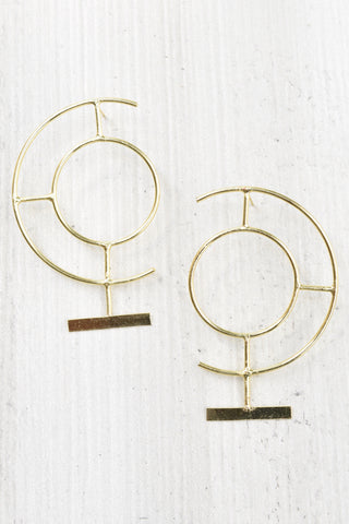 Abstract Half Circle & Bar Earrings