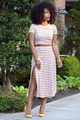 Stripe Ribbed Skirt Set