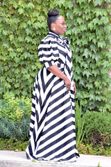 Curvy Stripe Bow Maxi Dress