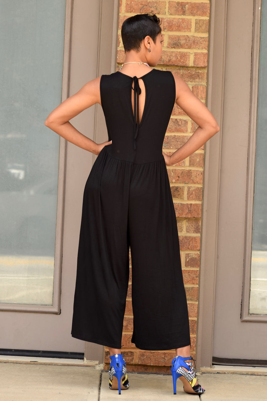 Gaucho Tie Back Jumpsuit -Black