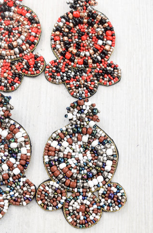 Seed Bead Multi Circle Earrings