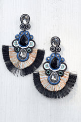 Jewel Bead Fringe Earrings