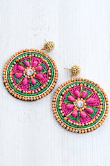 Seed Bead & Jewel Disc Earrings