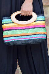 Stripe Straw Mini Tote