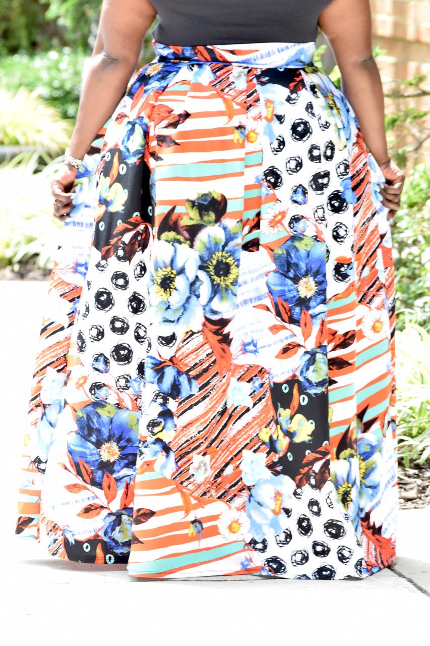Curvy Tropical Maxi Skirt