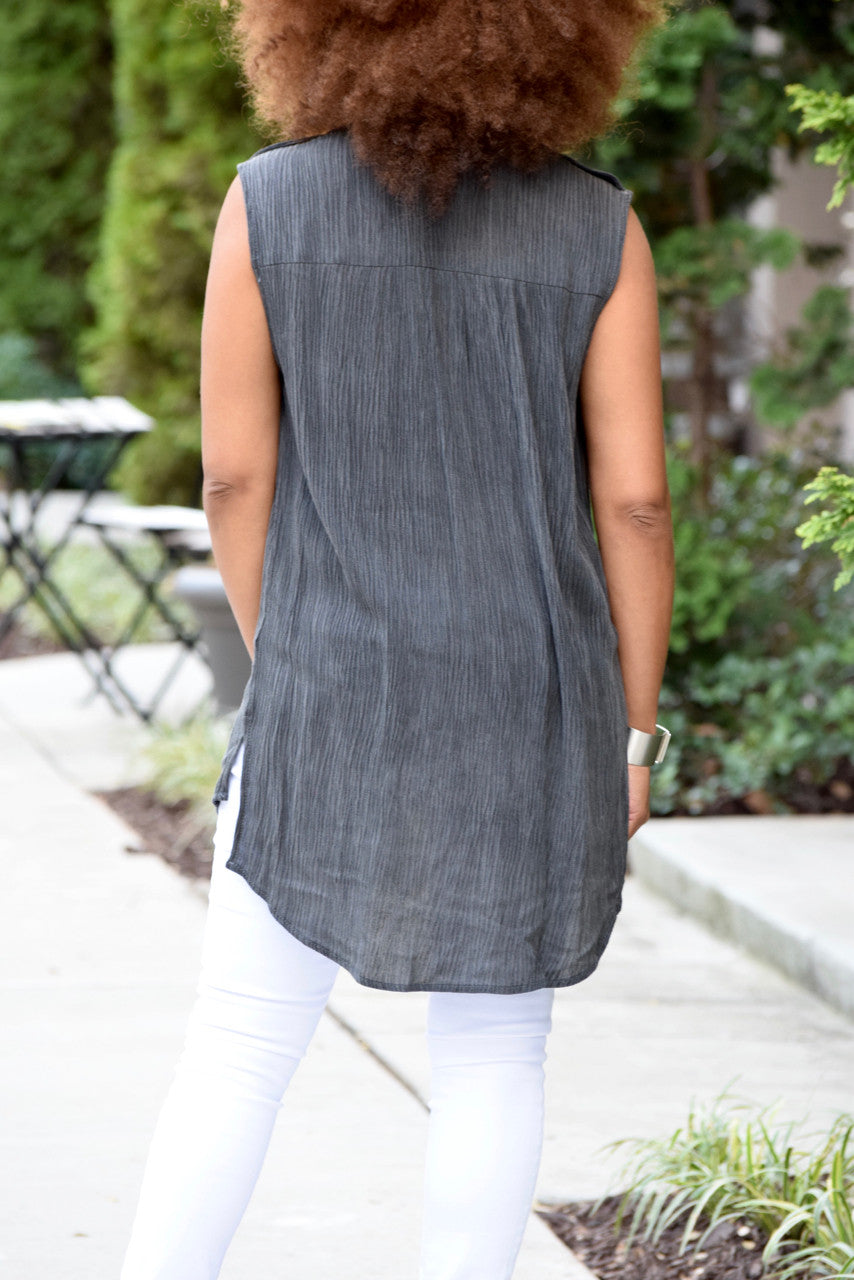 Sleeveless Tab Shoulder Top