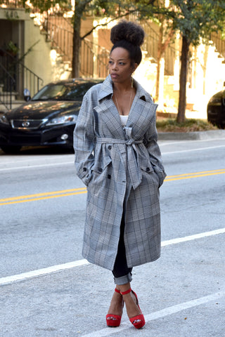 Boxy Plaid Trench