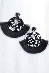 Marble Cut Out Circle Fringe Earrings