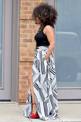 Stripe Zipper Maxi Skirt (S-XL)