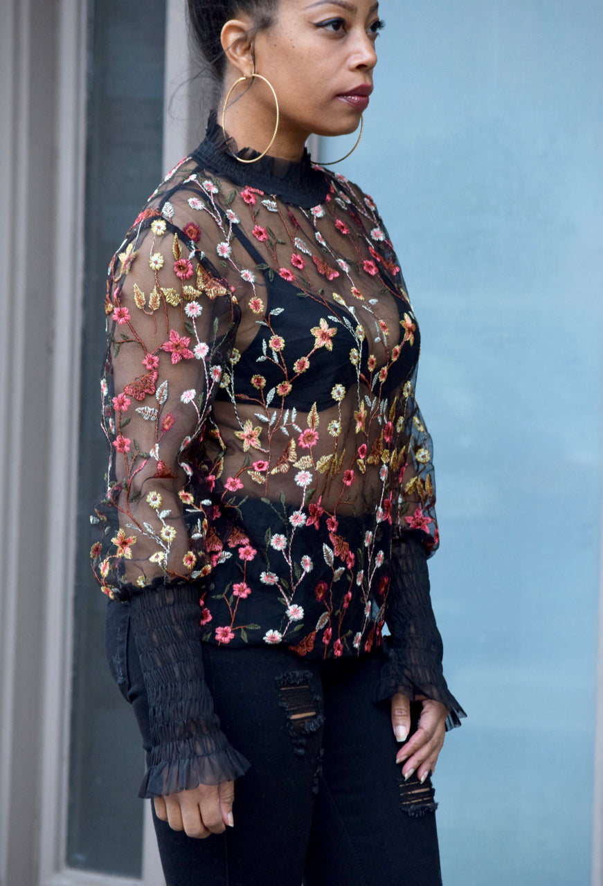 Embroidered Floral Sheer Top