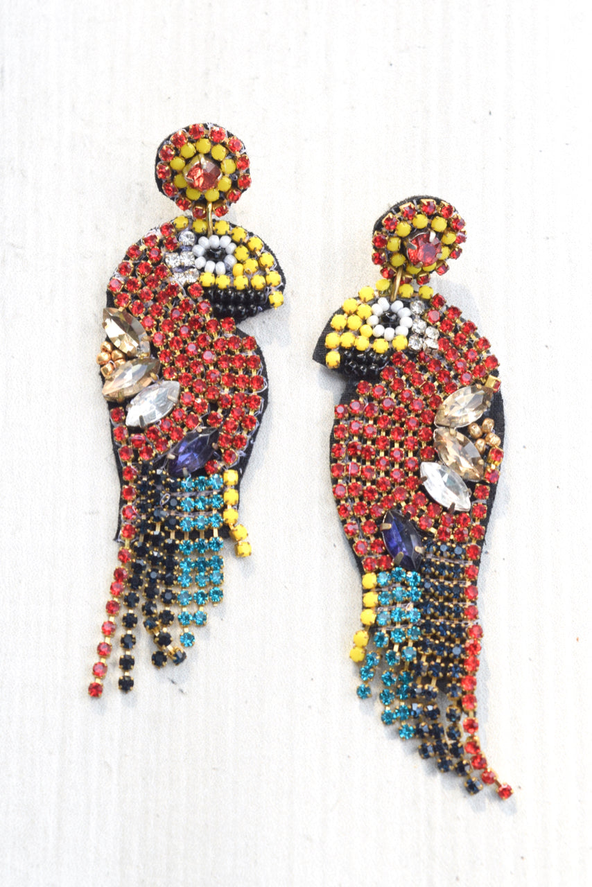 Stone Parrot Earrings