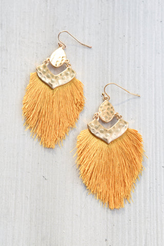 Hammered Oval Fringe Earrings