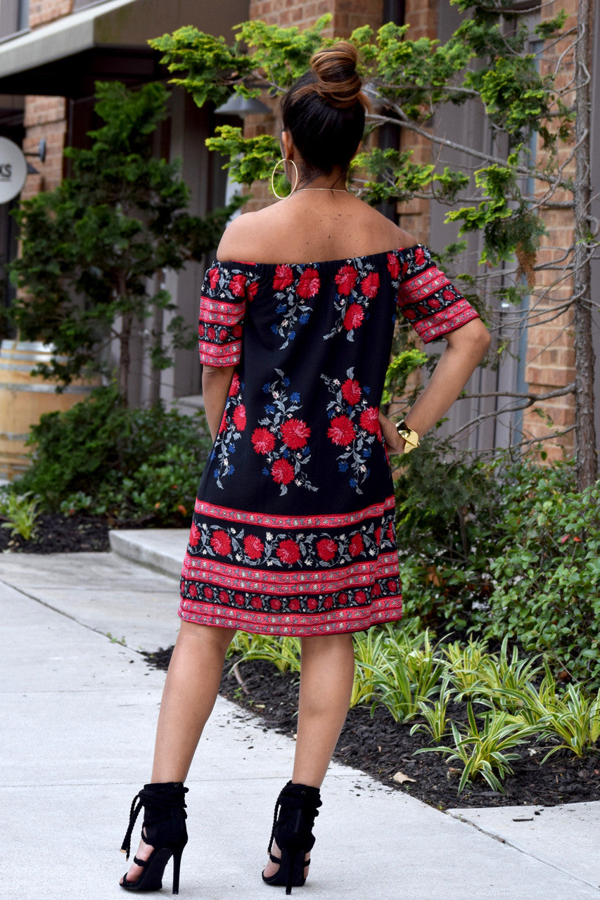 Floral Off Shoulder Shift Dress