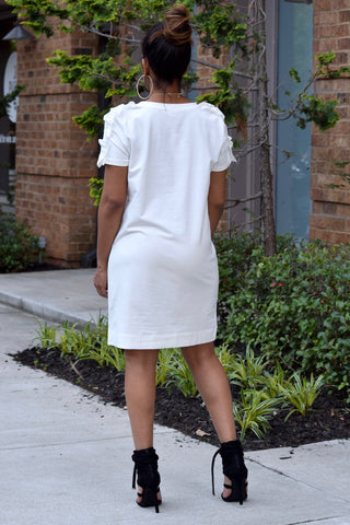 Ruffle Sleeve Tee Dress-Ivory