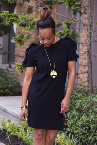 Ruffle Sleeve Tee Dress-Black