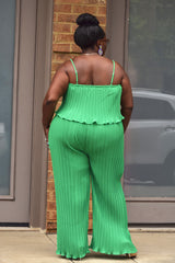 Green Curvy Pleated Flounce Jumpsuit