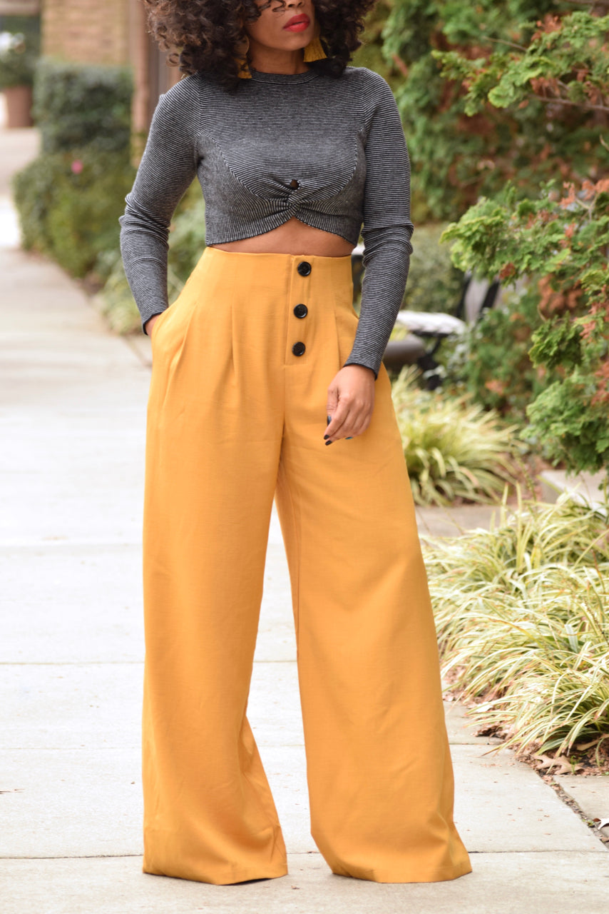 Button Front  High Waist Pants