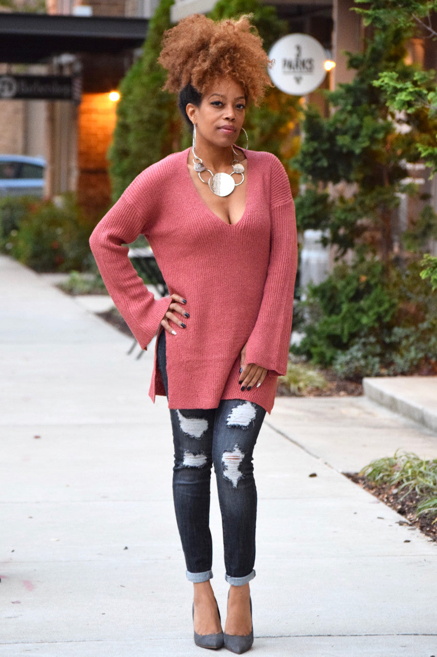 Rose Cut Out V Sweater