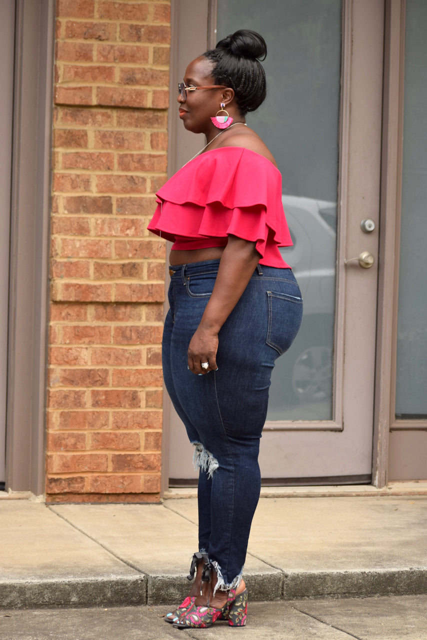 Plus Size Off the Shoulder Ruffle Crop Top