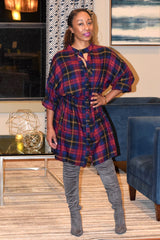 Plaid Choker Tunic Dress