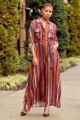 Painted Stripe Belted Shirt Dress