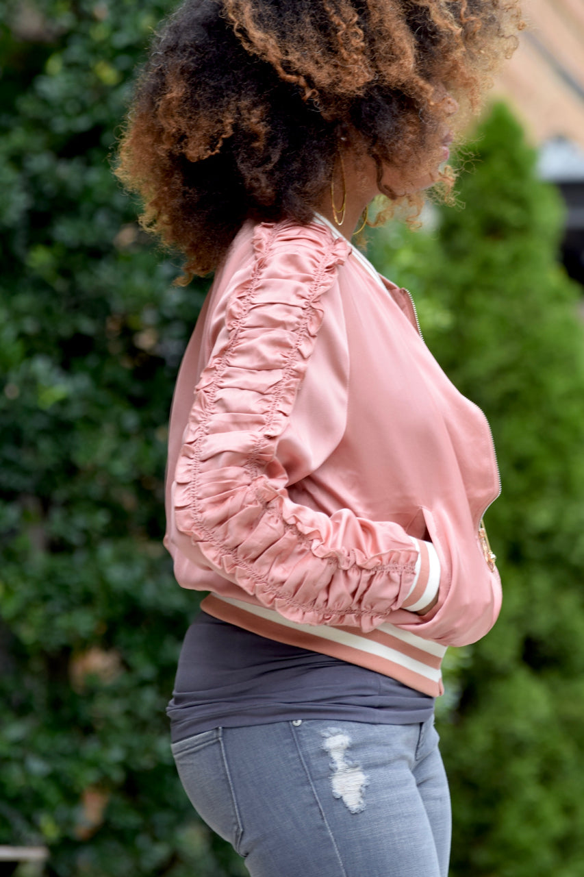 Ruffle Sleeve Satin Bomber Jacket